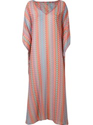 Sub Zig Zag Pattern Long Kaftan Pink And Purple