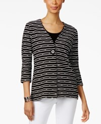 Jm Collection Printed Single Button Jacket Only At Macy's Deep Black