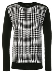 Balmain Houndstooth Check Sweater Wool M Black