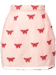 Fleur Du Mal Embroidered Mini Skirt Pink