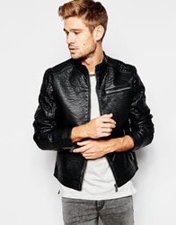 Esprit Faux Leather Jacket With Quilted Sleeves Black