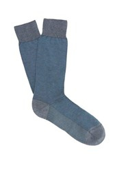Pantherella Tewkesbury Birdseye Knit Socks Light Blue