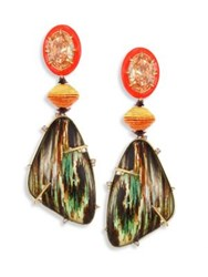 Alexis Bittar Lucite Large Crystal And Woodgrain Clip On Earrings Multi