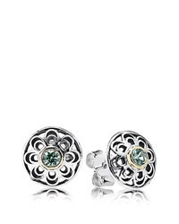 Pandora Design Pandora Earrings Sterling Silver And 14K Gold Vintage Allure Stud Silver Gold Green