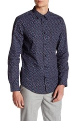 Ben Sherman Long Sleeve Micro Floral Slim Fit Shirt Blue