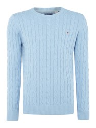 Gant Men's Crew Neck Cable Knit Jumper Light Blue