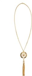 Versace Gold And White Medusa Medallion Chain Necklace