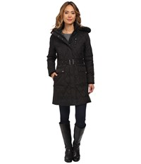 Lauren Ralph Lauren 3 4 Diamond Quilt Belted Black Women's Coat