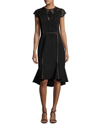 Catherine Deane Cap Sleeve Flounce Hem Dress Black