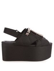 Marni Crystal Embellished Quilted Flatform Sandals Black