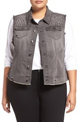 Melissa Mccarthy Seven7 Plus Size Women's Studded Denim Vest