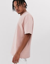 Asos White Loose Fit Heavyweight T Shirt In Rose Pink