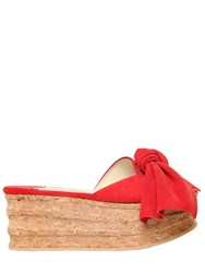 Paloma Barcelo 60Mm Platform Bow Suede And Cork Sandals