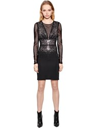 Just Cavalli Viscose Jersey And Mesh Dress W Crystals