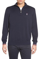 Men's Psycho Bunny Pima Cotton Quarter Zip Sweater Navy