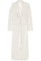 Galvan Pinstriped Crepe Coat White