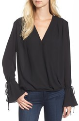 Trouve Women's Surplice Tie Sleeve Top