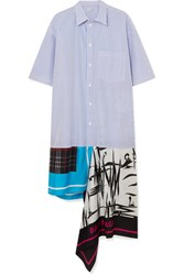 Balenciaga Asymmetric Patchwork Cotton Poplin And Silk Twill Dress Sky Blue
