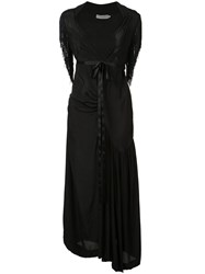 Preen By Thornton Bregazzi Long Fringe Sleeve Dress Black