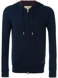 Burberry Zipped Knit Hoodie Blue