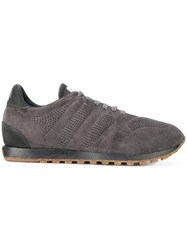 Alberto Fasciani Perforated Sneakers Cotton Leather Suede Rubber Grey