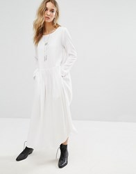 Mango Midi Smock Dress White