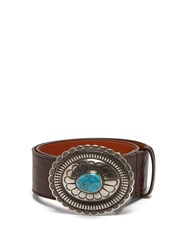 Etro Crocodile Effect Leather Belt Brown