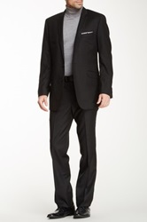 Ben Sherman Black Tonal Stripe Two Button Notch Lapel Wool Suit