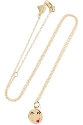 Alison Lou Small Tongue Out Enameled 14 Karat Gold Necklace