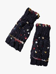 Fat Face Hand Stitched Overflap Mittens Navy