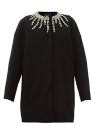 Giambattista Valli Crystal Embroidered Collarless Coat Black