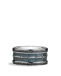 David Yurman Armory Wide Band Ring With Black Diamonds Silver Black