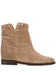 Via Roma 15 Star Stud Ankle Boots Neutrals