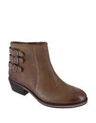 Mia Neal Leather Buckled Ankle Boots Taupe