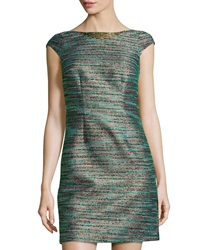 Laundry By Shelli Segal Cap Sleeve Shimmer Woven Dress Emerald Multi