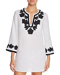 Tory Burch Floral Applique Fringe Tunic Swim Cover Up New Ivory