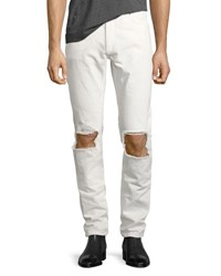 Saint Laurent Stone Wash Blowout Knee Straight Leg Jeans Off White