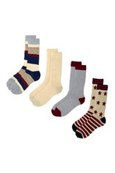 Lucky Brand Stars And Stripes Texture Crew Cut Socks Pack Of 4 Blue