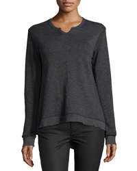 W By Wilt Split Neck Asymmetric Sweatshirt Black