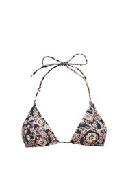 The Upside Jodhi Paisley Print Triangle Bikini Top Blue Multi