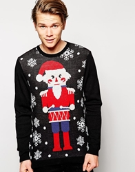 Asos Christmas Jumper With Nutcracker Design Black