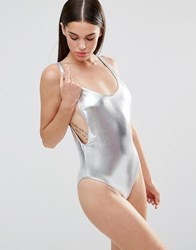Missguided High Leg Drop Arm Swimsuit Silver