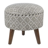 Amara Printed Tile Round Stool Grey White