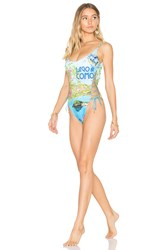 Sauvage Side Lace Up One Piece Blue