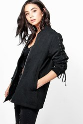 Boohoo Lace Up Detail Bomber Black
