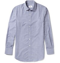 Dunhill Slim Fit Gingham Cotton Shirt Blue