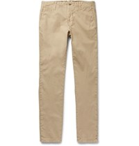 Incotex Slim Fit Textured Stretch Cotton Trousers Sand