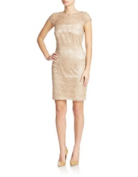 Cachet Illusion Lace Sheath Dress Champagne