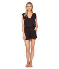 Lucky Brand Solid Attitude Hooded Romper Cover Up With Side Pockets Black Jumpsuit And Rompers One Piece