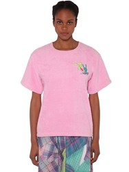 Natasha Zinko Cotton T Shirt W Terry Cloth Patch Pink